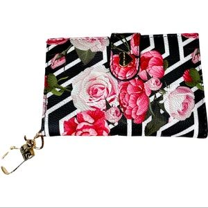 Betsey Johnson XO LEAH Striped Floral Wallet New With Tags